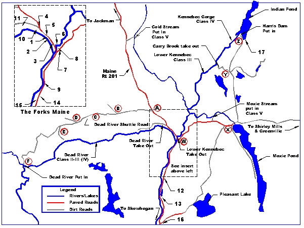 American Whitewater Spencer Falls To West Forks Dead Maine US - Map of maine rivers