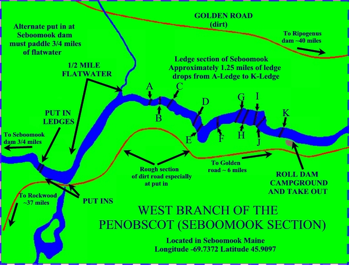 American Whitewater Seboomook Dam To Roll Dam Campsite - Map of maine rivers