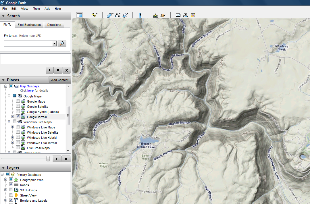 American Whitewater Riverskmltopoandaerials - Google maps topo