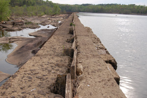 :The remaining section of the Great Falls of the Catawba are dewatered by this diversion dam.